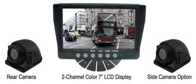 Low cost LCD rear vision vehicle camera system LCD display, for backup safety rear vision backup view and side view camera application SiteVer