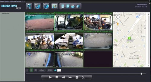 SD8C 3G Live View City Metro Transit Bus with live GPS tracking, geo-fencing, live driver talk low resolution streaming video screenshot street mapping