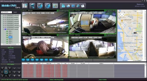 SD8C 8-channel video streaming Live View 3G public transit bus surveillance camera system Quad view with map